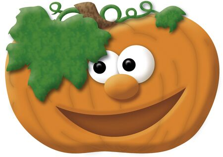 Illustration of a smiling pumpkin with eyes, mouth and nose illustration