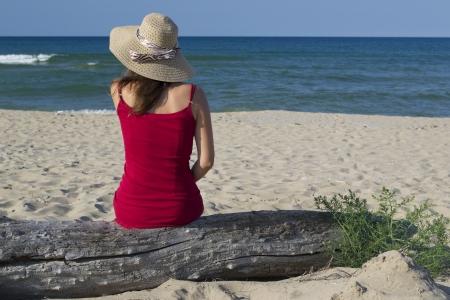 bulgaria girl: Beautiful young woman on the beach Stock Photo