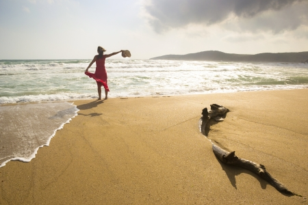 bulgaria girl: Happy young woman enjoys being on a wild beach