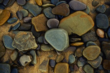 Variety of colorful wet pebbles at the beach.
