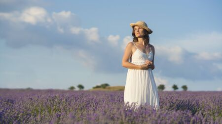 Beautiful young woman wearing a white dress standing in the middle of a lavender field holding a few blades of  lavender. 版權商用圖片