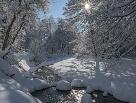 Beautiful peaceful wintery river scene with deep snow covering the ground and trees and the sun shining through the branches. 版權商用圖片
