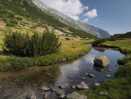 Clear mountain stream flowing through the rocky alpine landscape of Pirin National Park, Bulgaria. 版權商用圖片