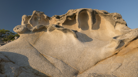 Unusual rock formations with strange shapes along the coast of Sythonia, Chalkidiki, Greece.