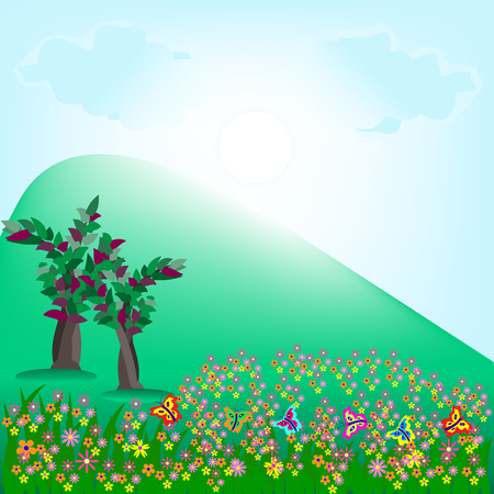 Nature background, hill, tress and flowers illustration.