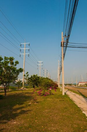 electrical system: Electrical system transmission lines with the vertical column. Stock Photo
