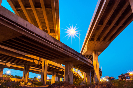 express lane: View under elevated express way with evening sky background.