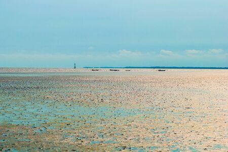 german north sea region: Mudflat wetlands at low tide. Stock Photo