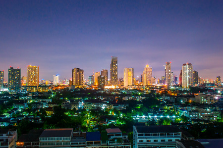urbanscape: Landscape Night view at the top view of Bangkok