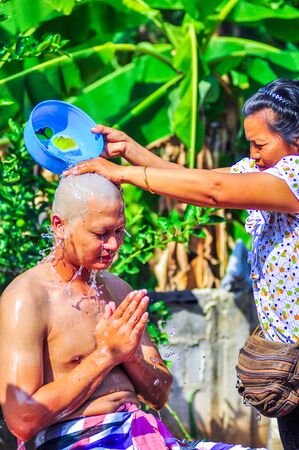 rites: a series of initiation rites that have changed to the new man at the temple Thailand Editorial