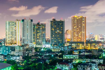 bangkok city: Landscape nightlife view bangkok city