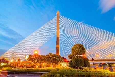 viii: Rama VIII Bridge at night in Bangkok Thailand Stock Photo