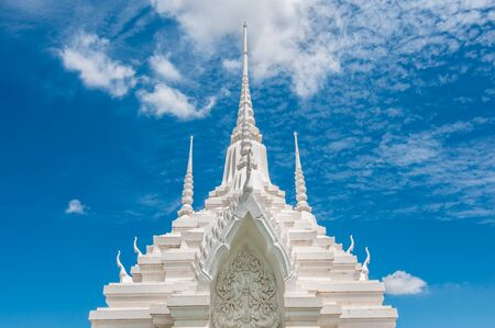 nagpur: White pagoda with blue sky background in Thailand.
