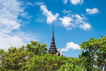 nagpur: view pagoda with blue sky background in Buddhist temple Thailand.