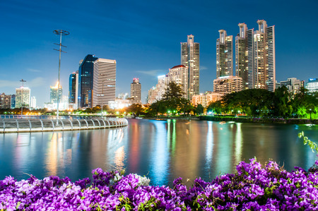 bangkok landmark: Twilight Benjakiti Park in Bangkok, Thailand