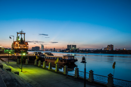 river view: Chao Phraya River Twilight View Stock Photo