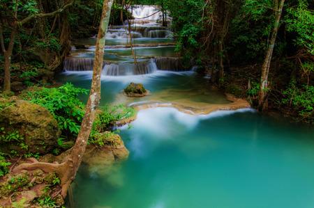 Parco Huay Mae Kamin cascata Nazionale, Kanchanaburi, in Thailandia Archivio Fotografico