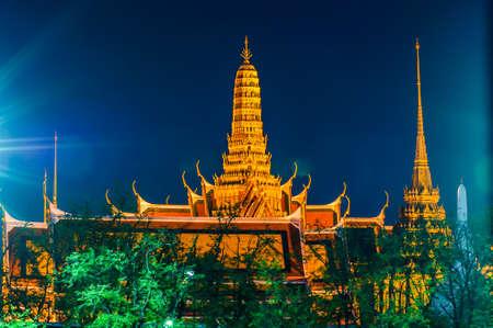 Twilight Temple of the Emerald Buddha Wat Phra Kaew of Bangkok, Thailand.
