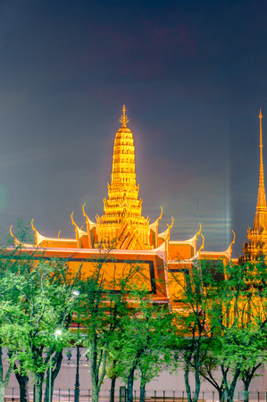 Twilight Temple of the Emerald Buddha Wat Phra Kaew of Bangkok, Thailand.