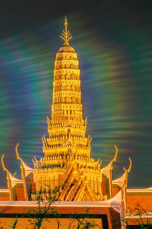 the emerald city: Twilight Temple of the Emerald Buddha Wat Phra Kaew of Bangkok, Thailand.