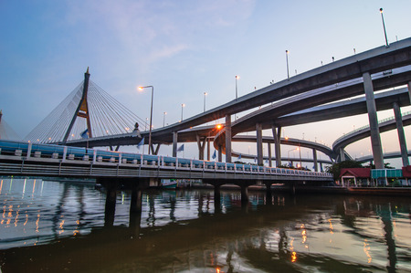 bhumibol: Bhumibol bridge at evening, Bangkok Thailand