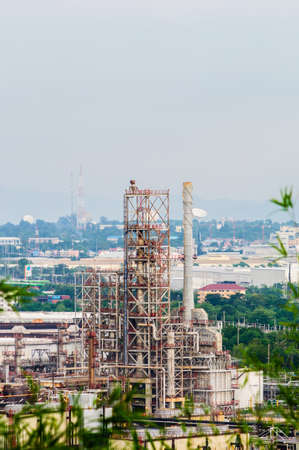 electricity export: Oil refinery industry in the country. Plant on the refinery Stock Photo