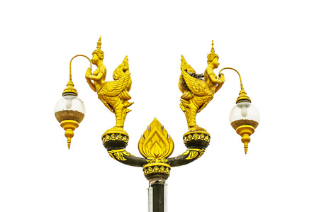 asian angel: Lamp golden kinnaree statues isolated on white background