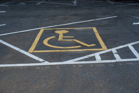 striping: Symbols parking for the disabled. Stock Photo