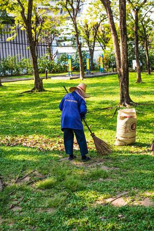 caretaker: Women caretaker garden at Benjakiti Park in Bangkok, Thailand