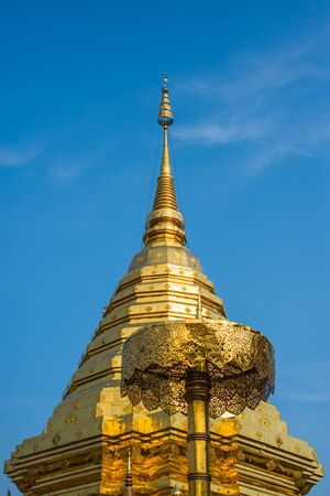 doi: Golden pagoda wat Phra That Doi Suthep chiangmai Thailand