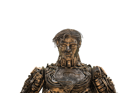 The Art superman is made from scrap steel on isolate background