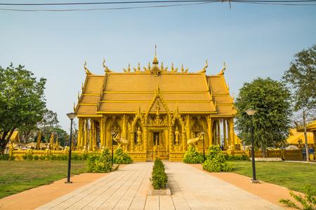 chachoengsao: gold color church of Wat Pak Nam Jolo- Bang Khla Chachoengsao