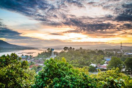 Sunrise at Khong Chiam, Ubon Ratchathani of Thailand.