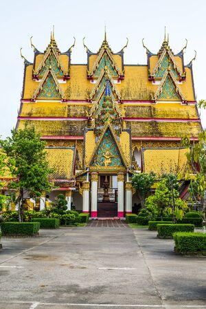 와트 왕 Wiwekaram, Sangkhlaburi, 깐 차나 부리 주, 태국.