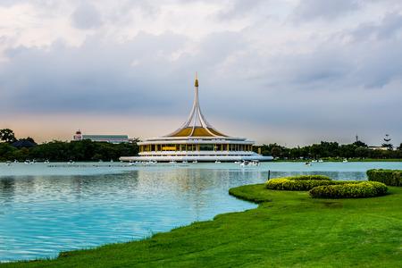 Twilight Pavilion landmark of Suan Luang Rama IX Public Park, Bangkok, Thailand Stock Photo