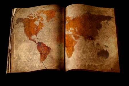 Old book with world map photo