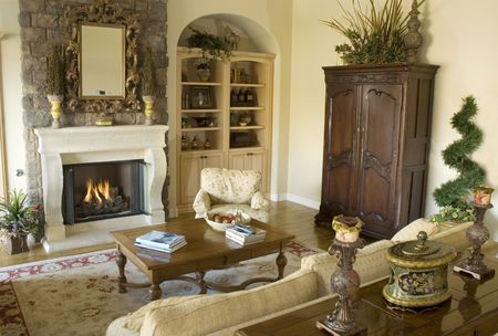 room in executive home with fireplace photo