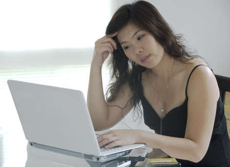 young woman is with notebook computer  photo
