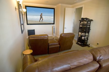 home theater: Home media room with big screen  Stock Photo