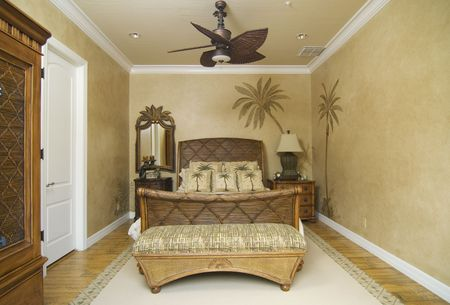 upscale tropical decor bedroom Stock Photo - 2465285