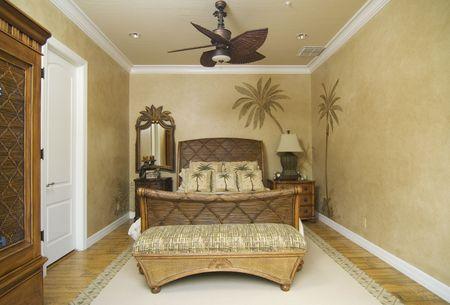 upscale tropical decor bedroom Stock Photo