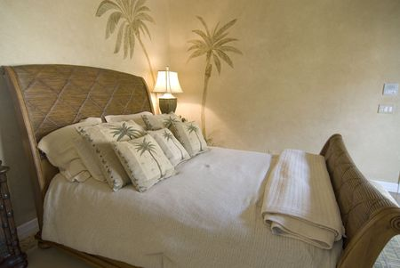bedspread: Tropical style rattan bedroom with pillows