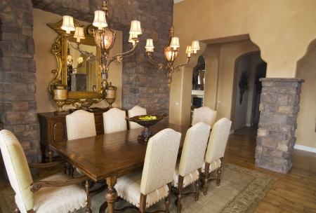 chandler: Upscale formal dining room with wooden table