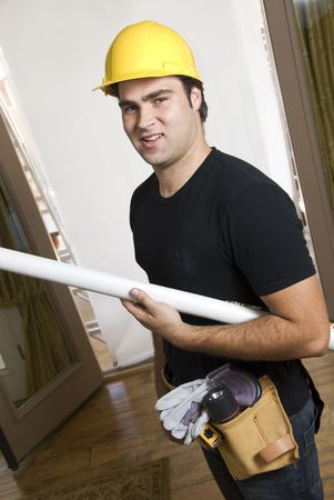 home builder: portrait of construction worker or home builder Stock Photo
