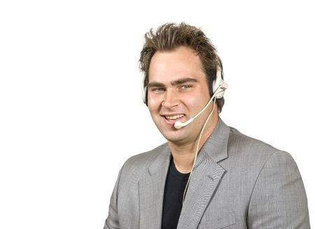Friendly man in call center Stock Photo - 2731495