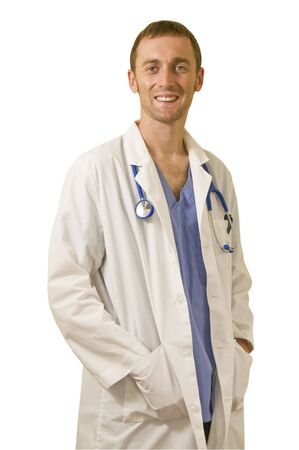Young caucasian male Doctor standing  Stock Photo
