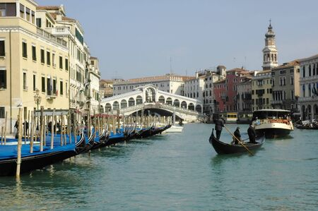 waterbus: a view of the Rialto Bridge and the Grand Canal,Venice Italy