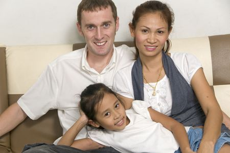 young interacial family with child