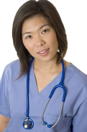 Doctor or Nurse standing with white background Stock Photo - 4279585