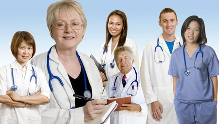 Doctors and Nurses standing with white background and background of earth photo